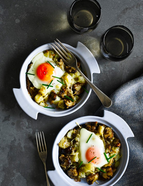 Baked Mushroom, Potato and Cheese Hash with Eggs Recipe