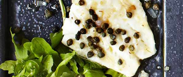 Grilled white fish with capers and lemon