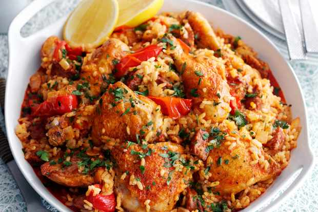Baked Spanish rice with chicken and chorizo