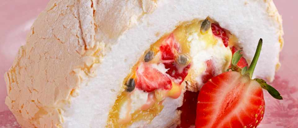 Strawberry Meringue Roulade Recipe with Passion Fruit
