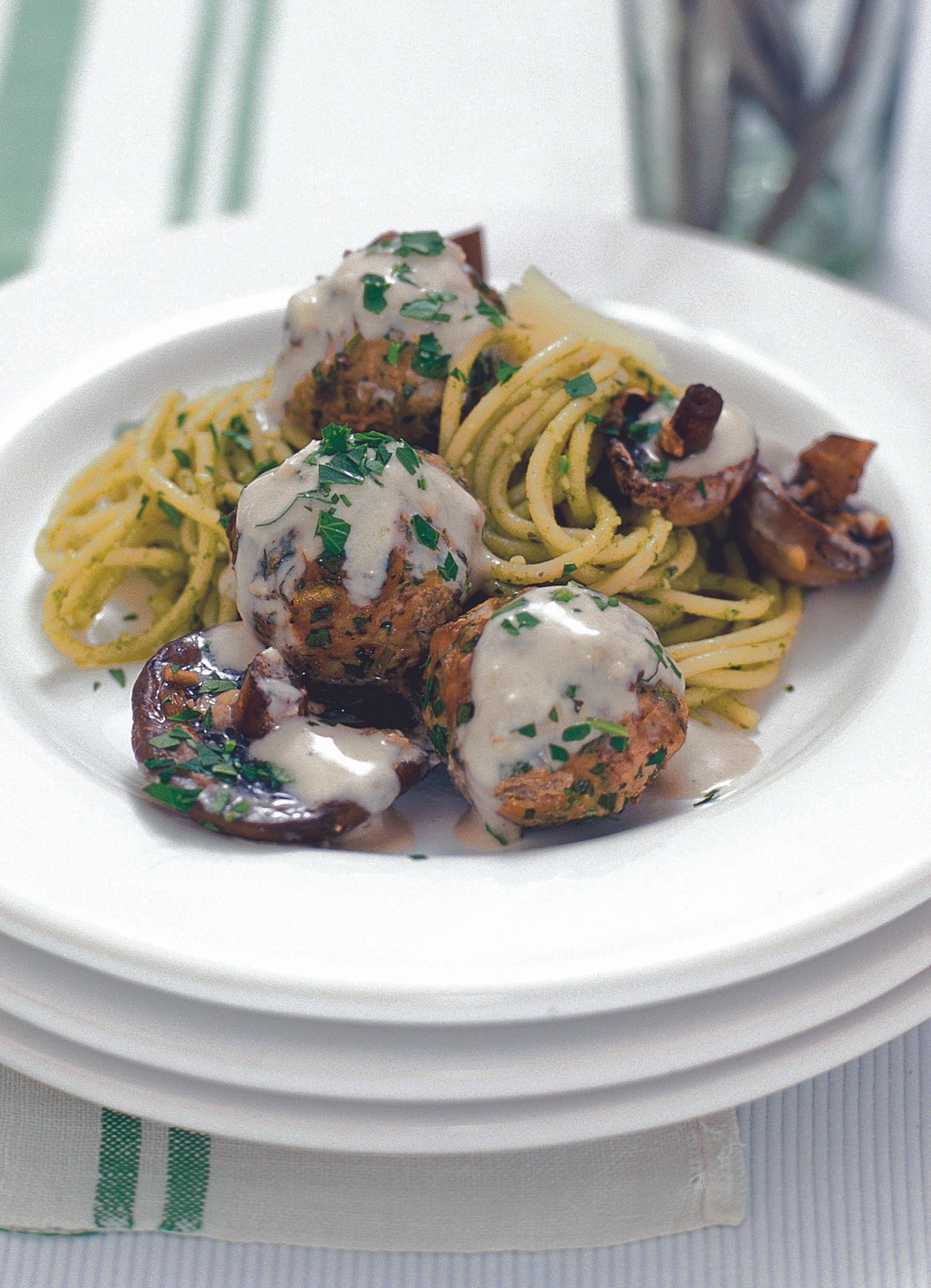 Roasted veal meatballs with garlic mushrooms and parmesan cream