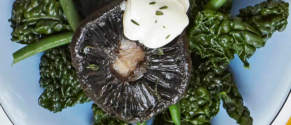 Buttered thyme mushrooms with greens