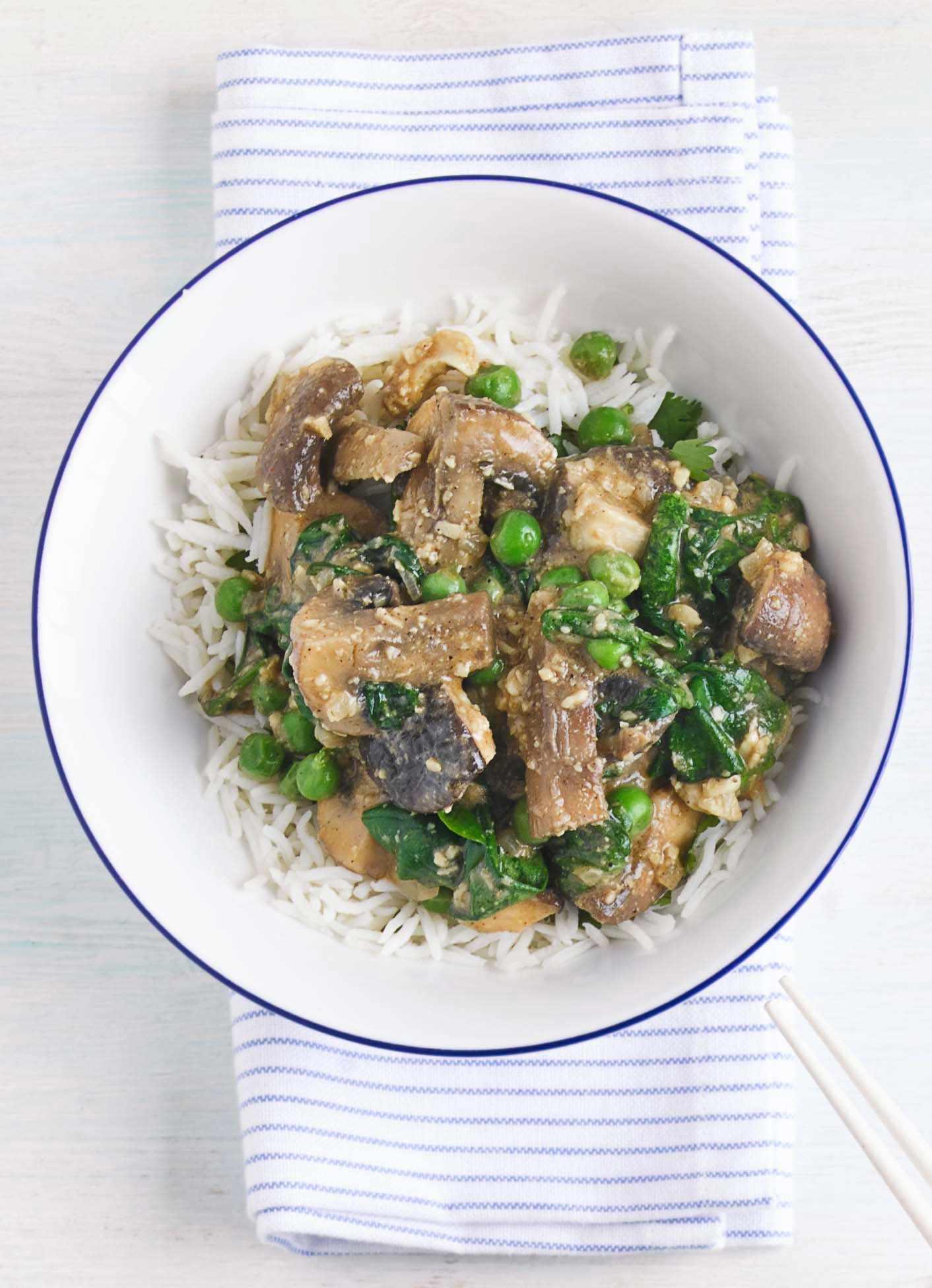 Mushroom masala with coriander rice
