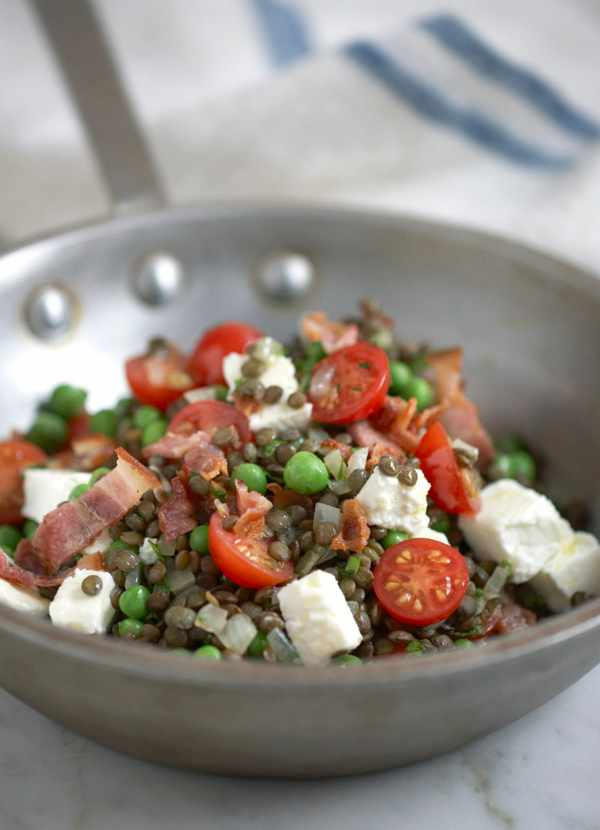 Lentil Salad Recipe With Peas, Feta and Bacon