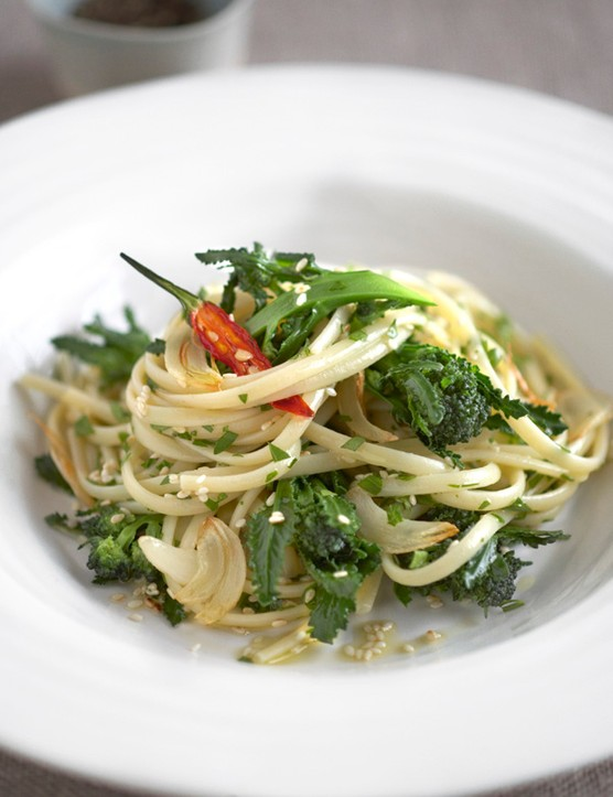 Linguine with purple sprouting broccoli, sesame and chilli