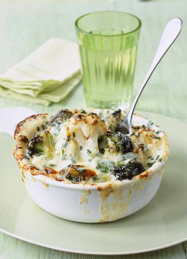 Cauliflower, Broccoli And Mature Cheddar Cheese Gratin Recipe