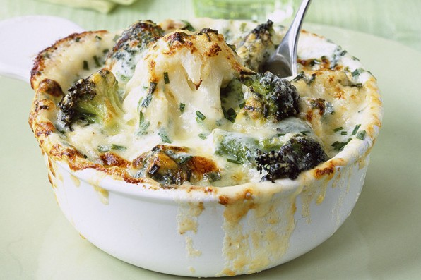Cauliflower, broccoli and mature cheddar cheese gratin