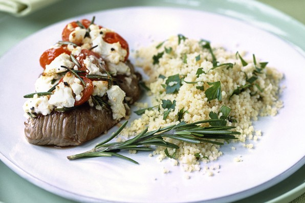 Lamb steaks with feta, tomato and rosemary