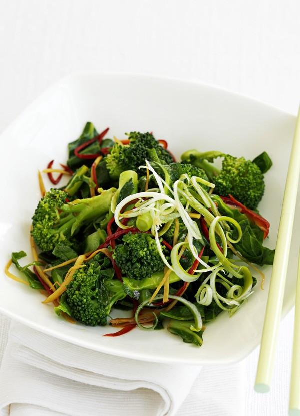 Broccoli, spring greens and chilli stir-fry