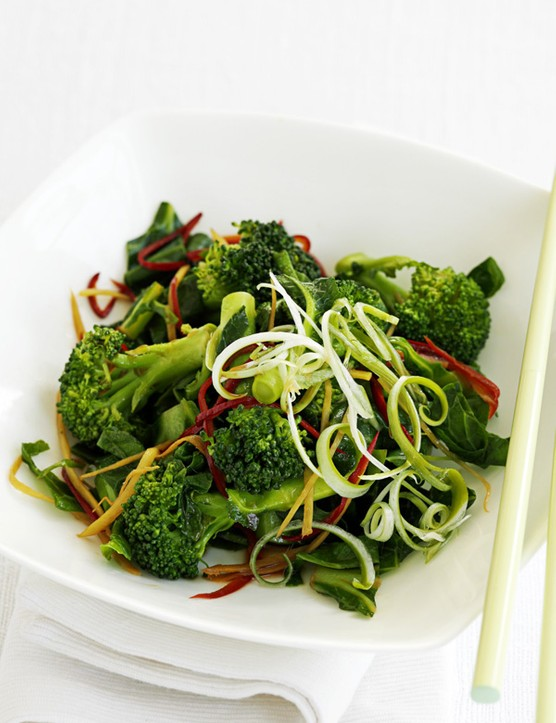Broccoli, spring greens and chilli stir-fry