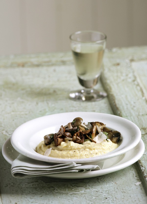 Polenta with mushroom and sage butter
