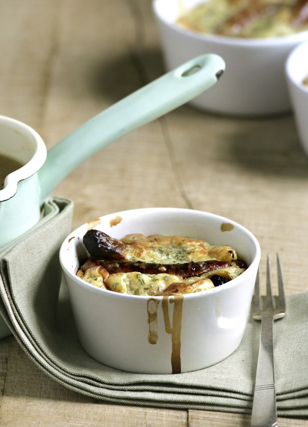 Mini toad-in-the-holes with Bramley gravy