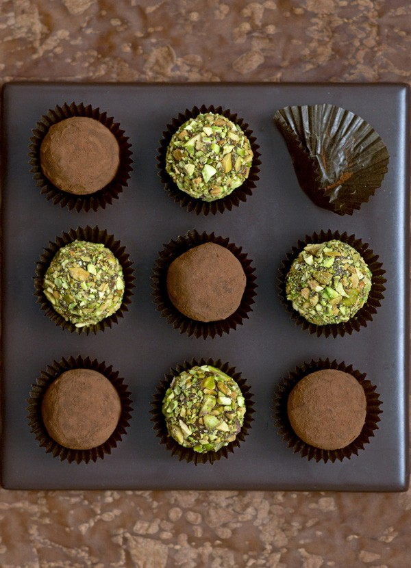 Milk chocolate and pistachio truffles