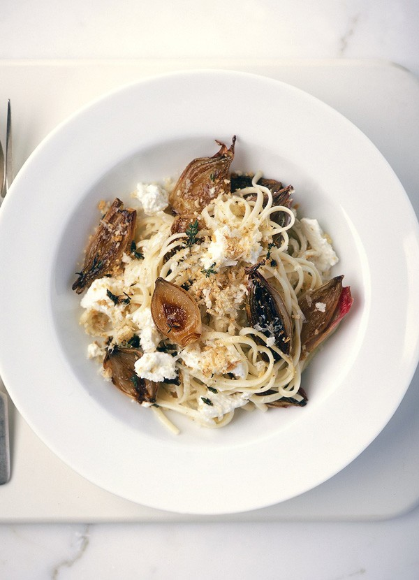 Sweet shallot and ricotta pasta