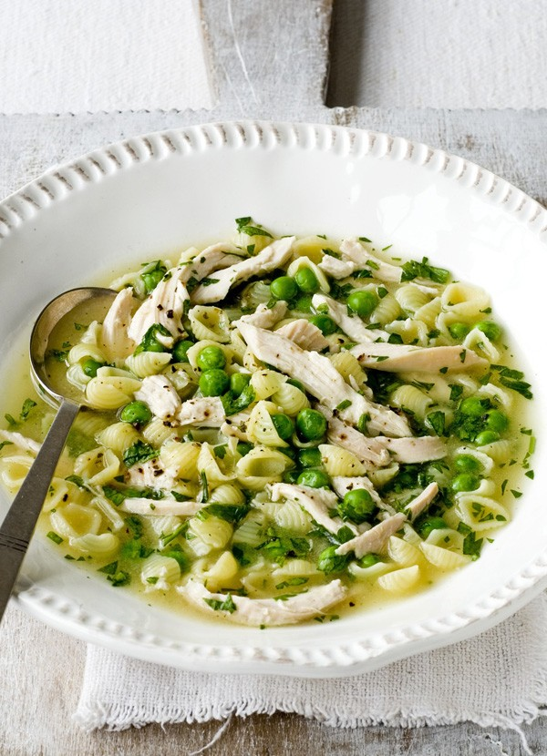 Chicken Pasta Broth Recipe with Peas