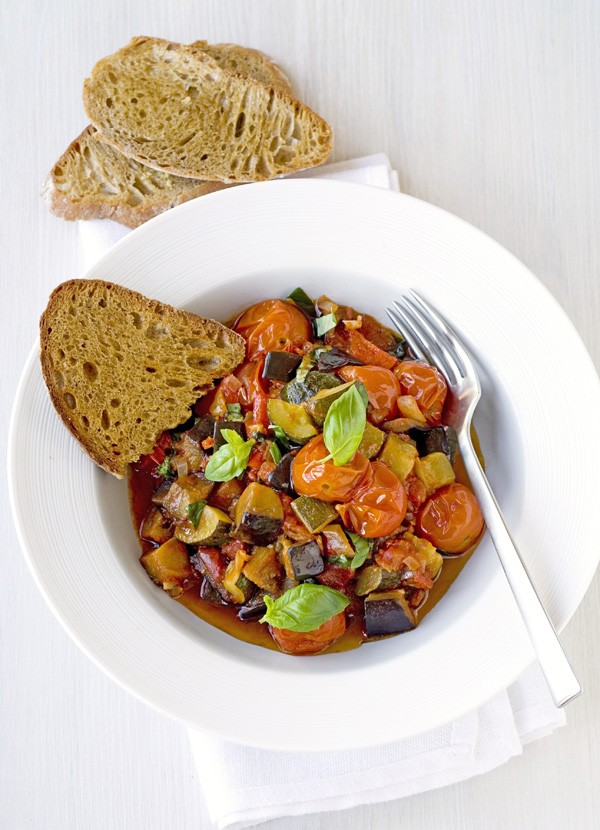 Ratatouille with crisp garlic sourdough