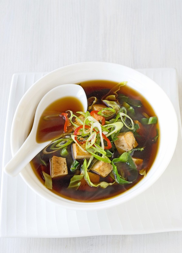Miso flavoured broth with marinated tofu