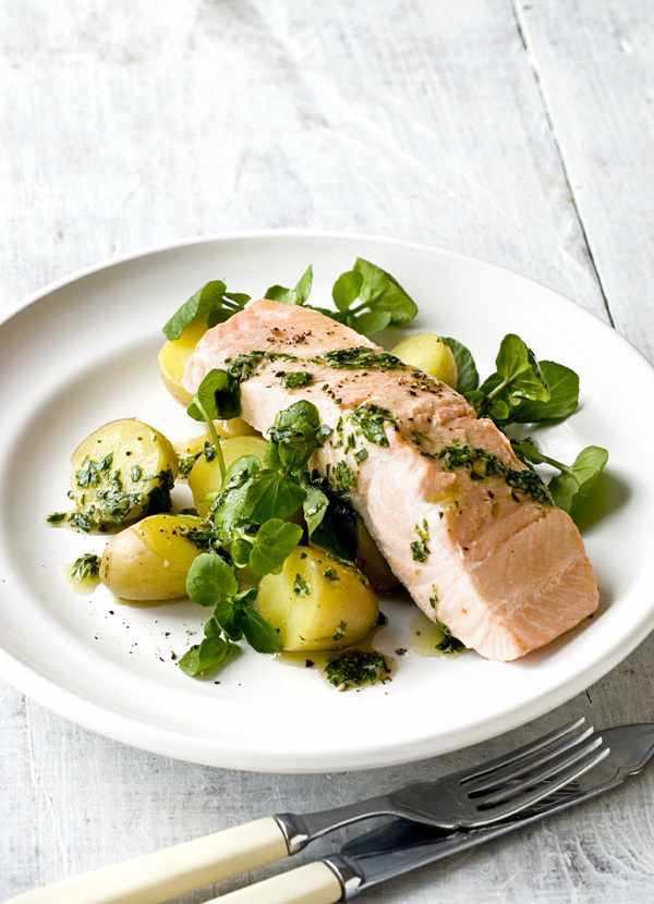 Poached Salmon Recipe With Green Herb and Mustard Sauce