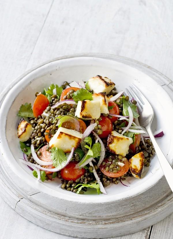 Warm Puy lentil, cherry tomato and halloumi salad