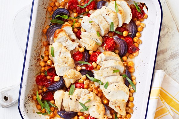 Roast Chicken Tomatoes Recipe with Chickpeas