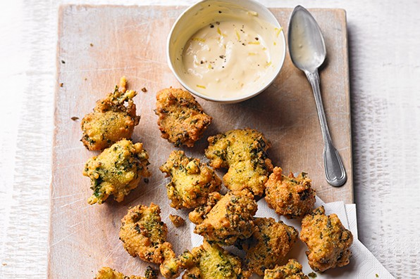 Kale Hush Puppies Recipe With Lemon Aïoli Recipe