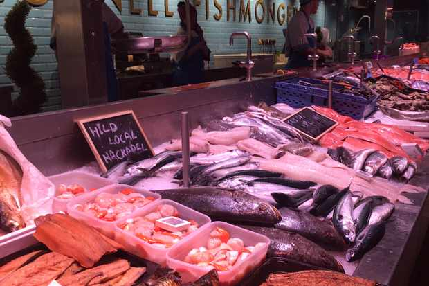 The English market in County Cork with a fresh fish stall