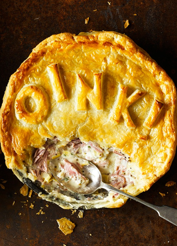 Ham hock, cider and green peppercorn pie