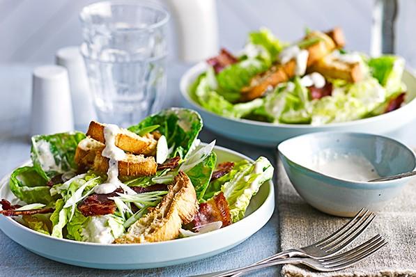 Bacon Caesar Salad Recipe With Parmesan Croutons