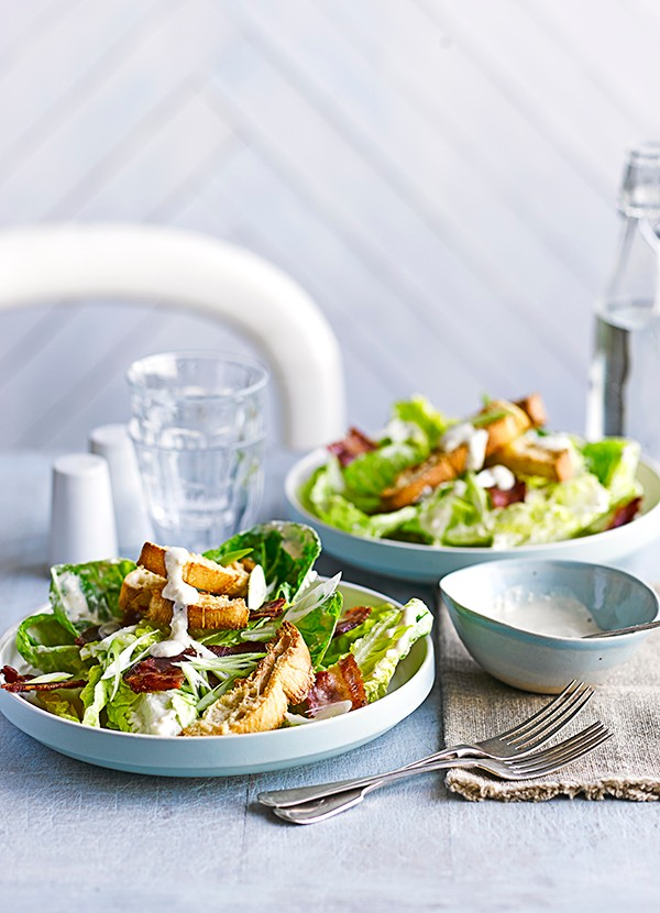 Bacon Caesar Salad Recipe With Parmesan Croutons