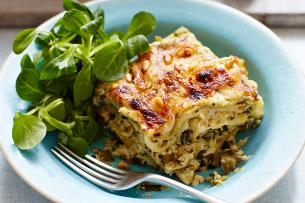 Spinach, Ricotta and Pesto Vegetarian Lasagne