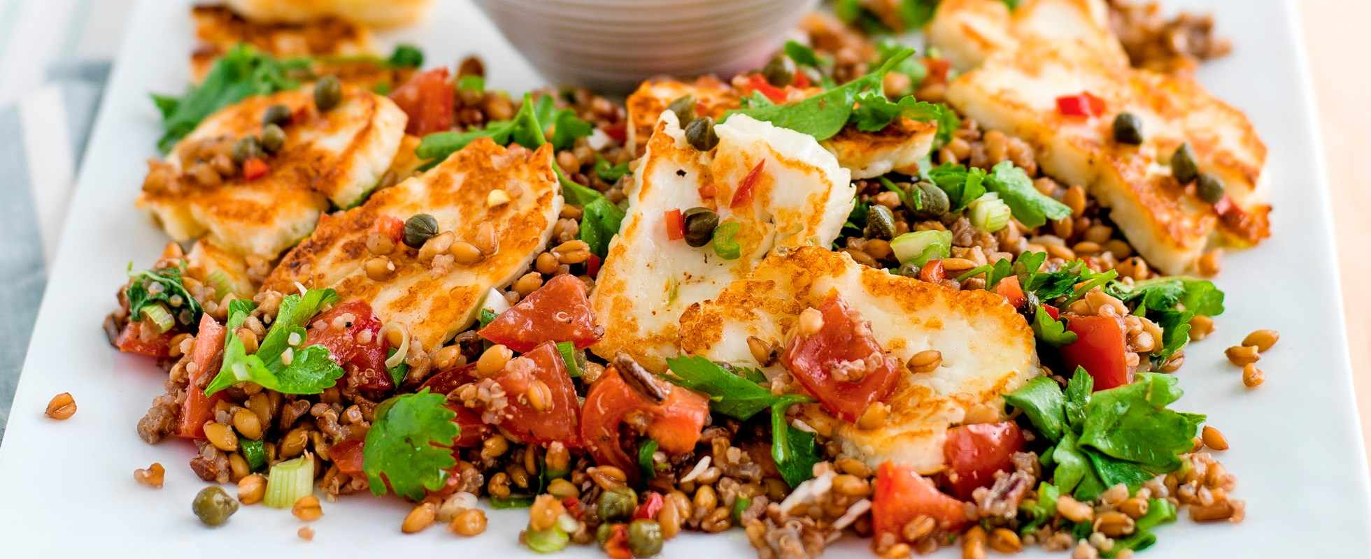 Halloumi with caper, lemon and chilli dressing