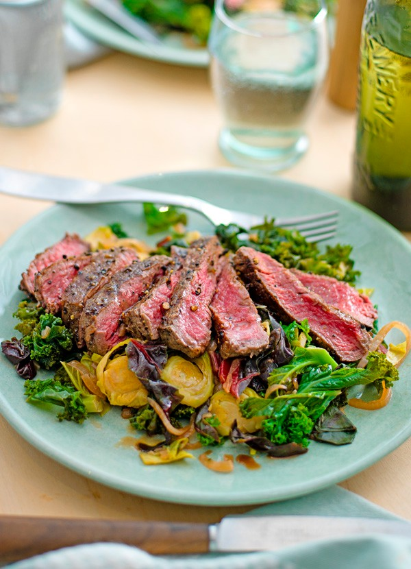 Steak and winter greens