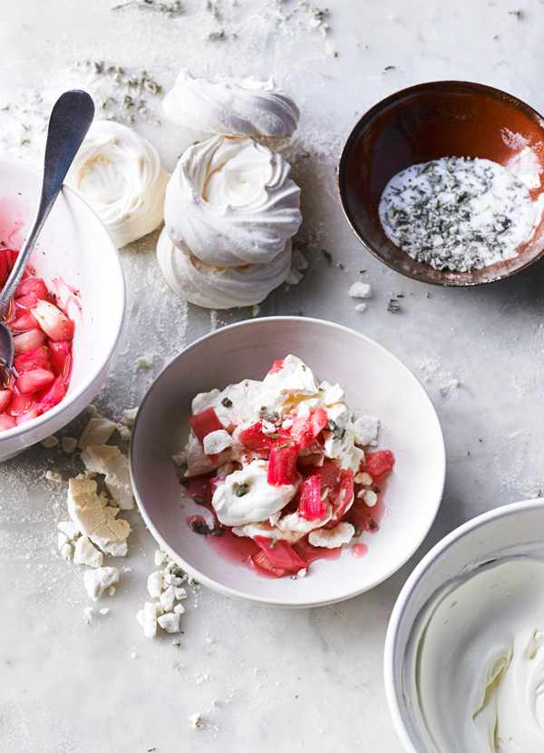 Rhubarb Mess with Candied Rosemary Recipe