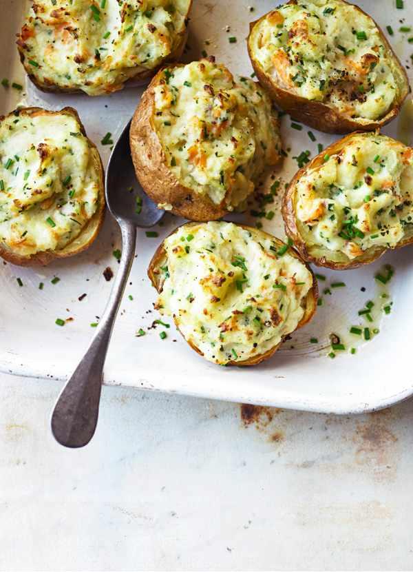 Baked Potato Recipe with Horseradish, Smoked trout and Mascarpone