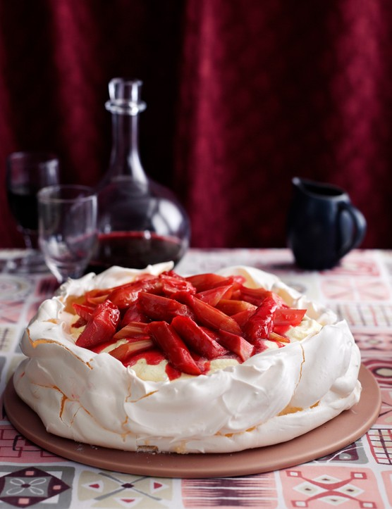 Rhubarb and Custard Pavlova Recipe