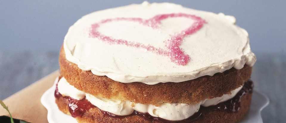 Valentine's Day strawberries and cream cake