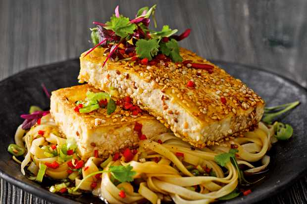 Crispy Tofu Recipe With Noodle Salad