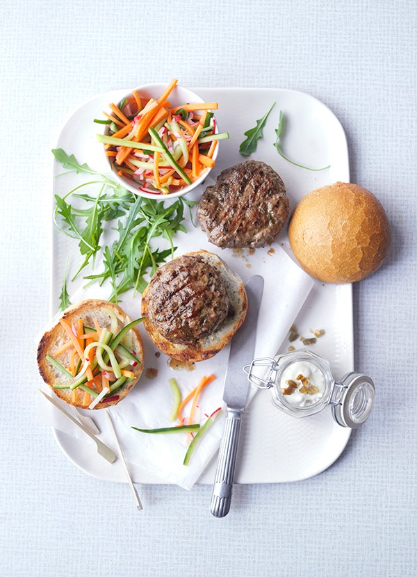 Wasabi Burgers Recipe with Pickle Relish