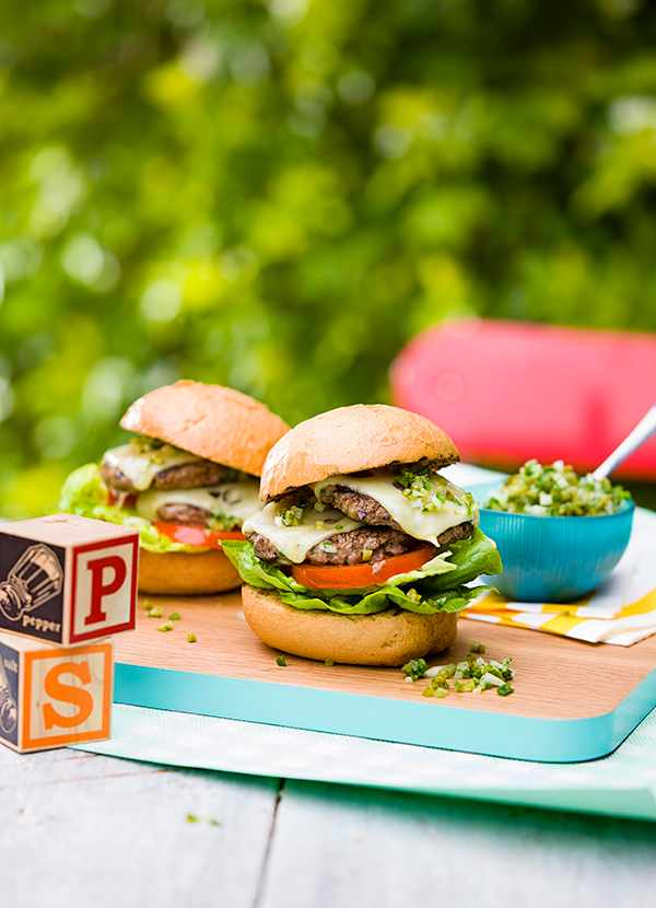 Double-swiss and green chilli relish burgers