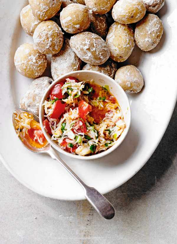 Salted Jersey Royals Recipe With Crab and Chilli Dip