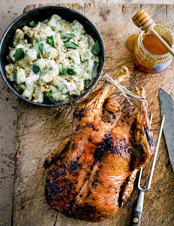 Roast Duck With Lavender Honey and Dumplings