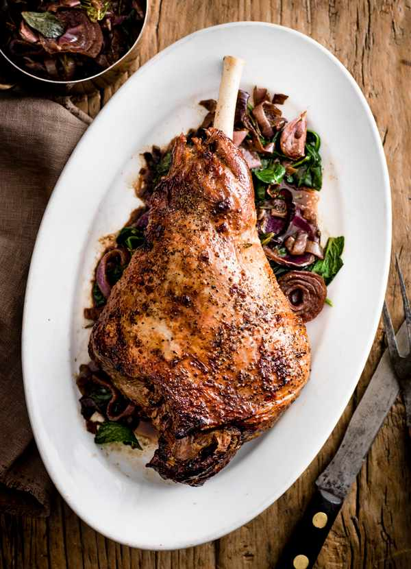 Roast Leg of Lamb with Pomegranate and Balsamic Onions Recipe