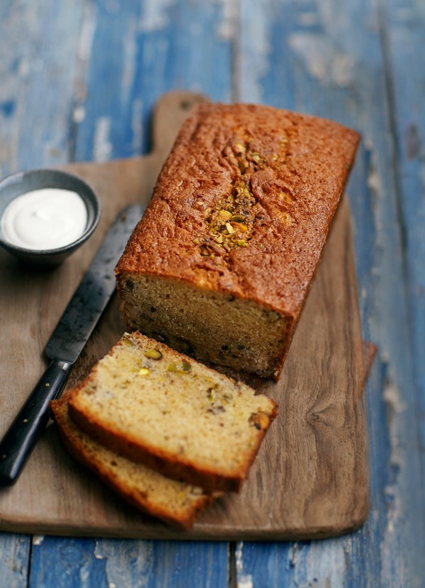Rhubarb and Pistachio Loaf Recipe with Soured Cream