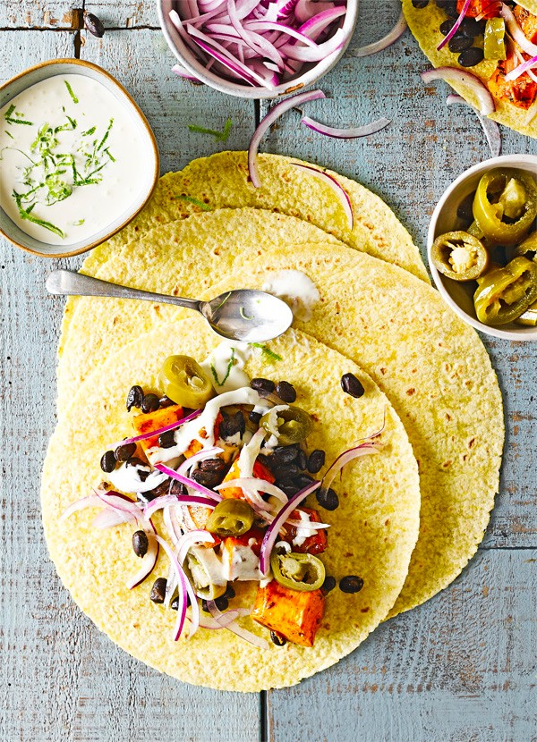Roasted squash and black bean tacos