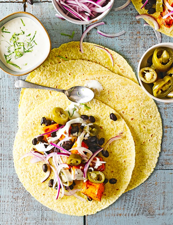 Roasted Butternut Squash Tacos Recipe with Black Beans