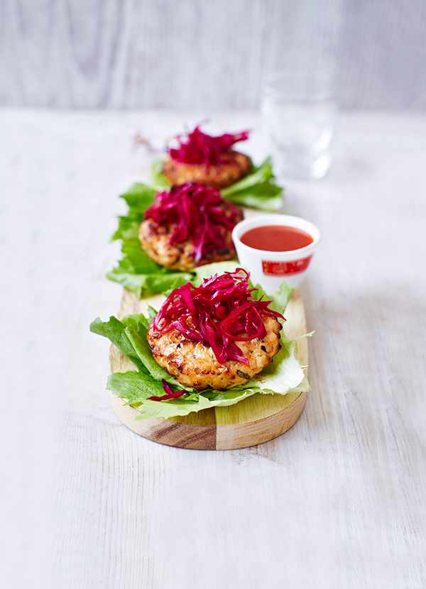 Healthy Chicken Burgers Recipe With Pickled Red Cabbage