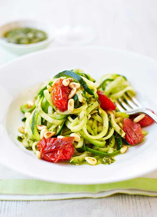 Courgetti Recipe with Pesto and Tomatoes