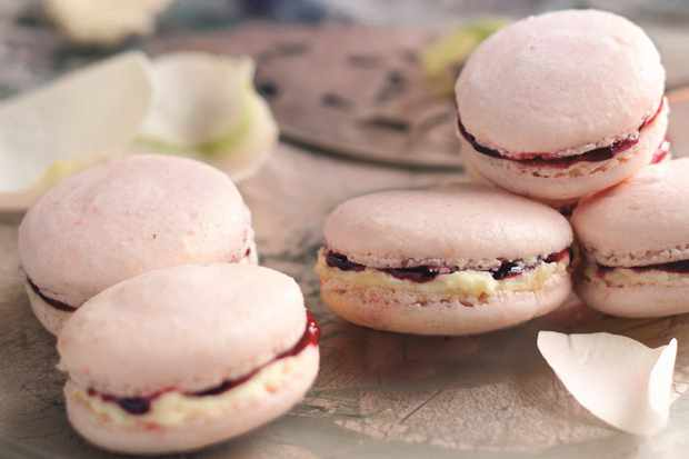 Raspberry and white chocolate macaroons