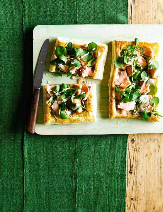 Salmon and Watercress Tarts