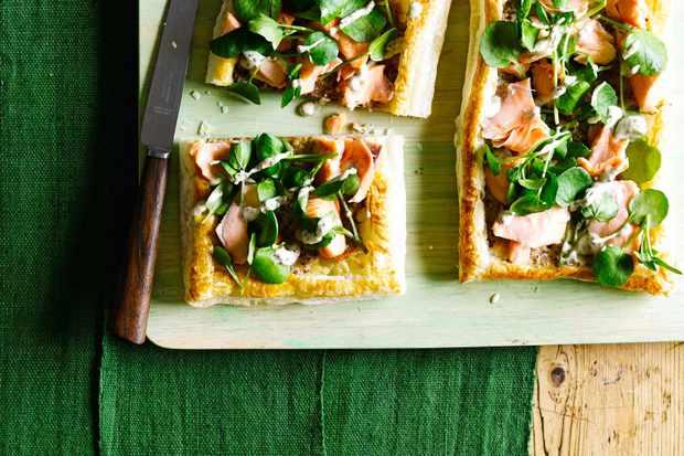 Salmon and Watercress Tarts
